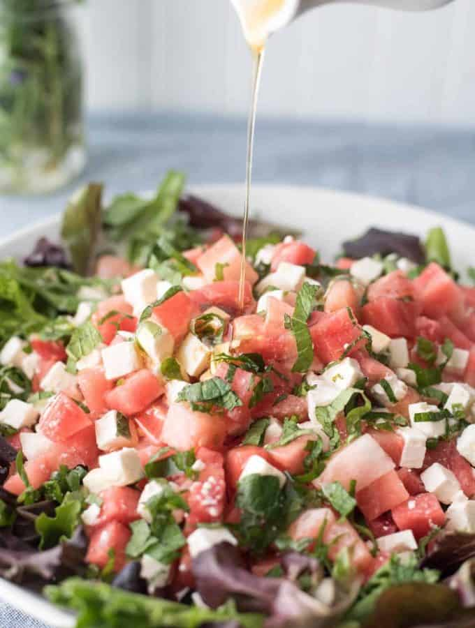 Summer Bliss Watermelon Feta Salad | White Balsamic Reduction