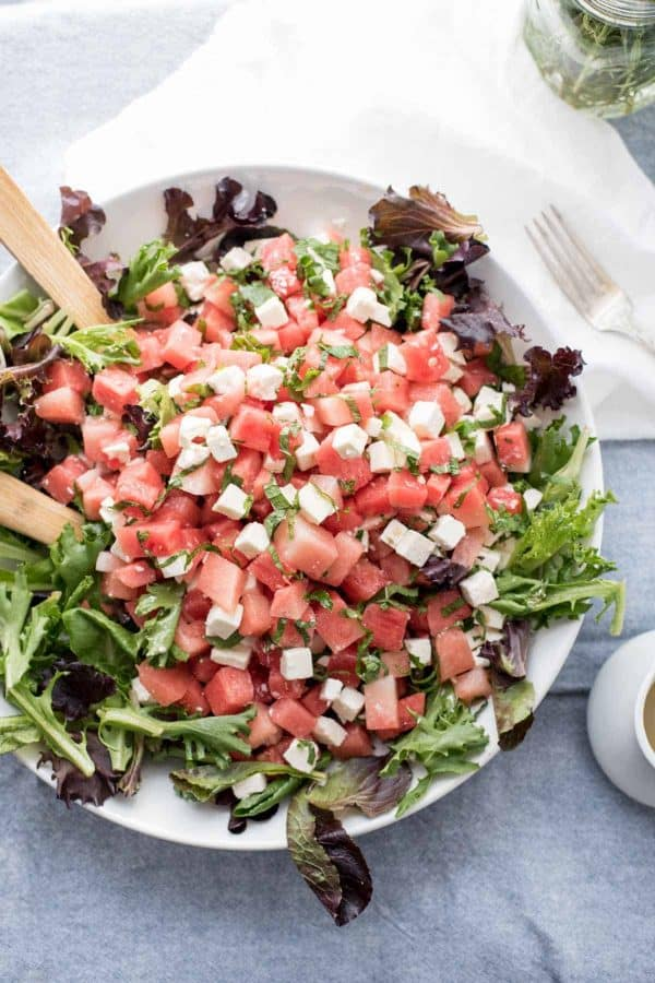 Watermelon & Feta Salad with White Balsamic Reduction