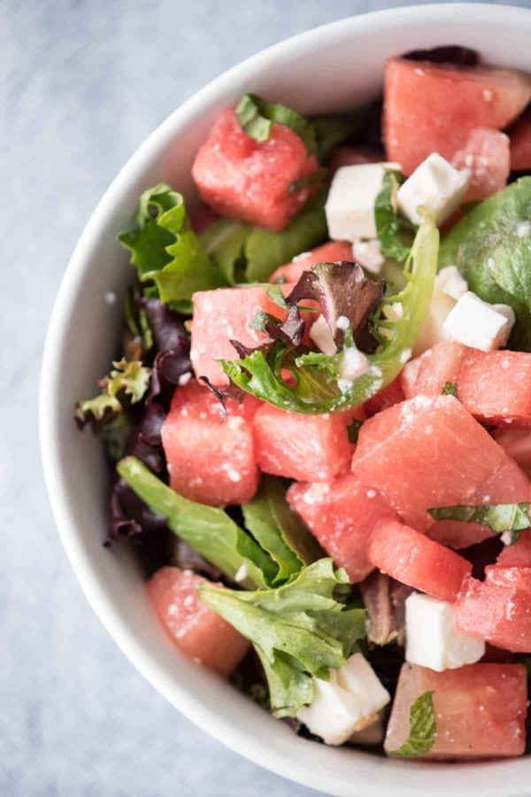 Watermelon Feta Salad with White Balsamic ReductionWatermelon & Feta Salad with White Balsamic Reduction