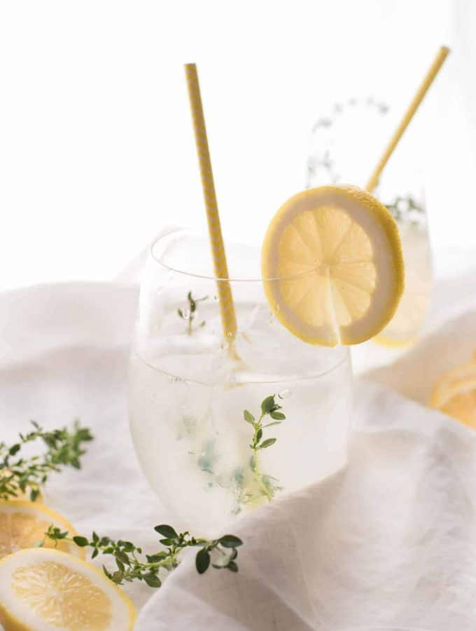 Lemon Thyme Gin Spritz in a glass