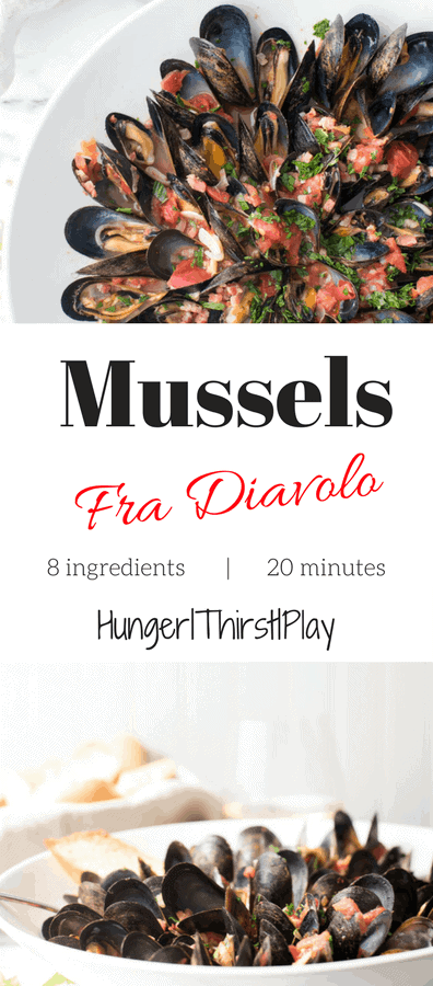 Mussels Fra Diavolo | Tender, fresh mussels in spicy, garlic and chopped tomato sauce. Comes together with little effort and lots of taste!