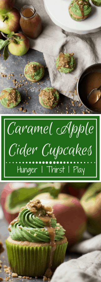 Fluffy buttercream drizzled with caramel and crunchy sweet walnuts on top of tender apple cider cupcakes and gooey caramel center. Your favorite childhood fall treat in a cupcake!