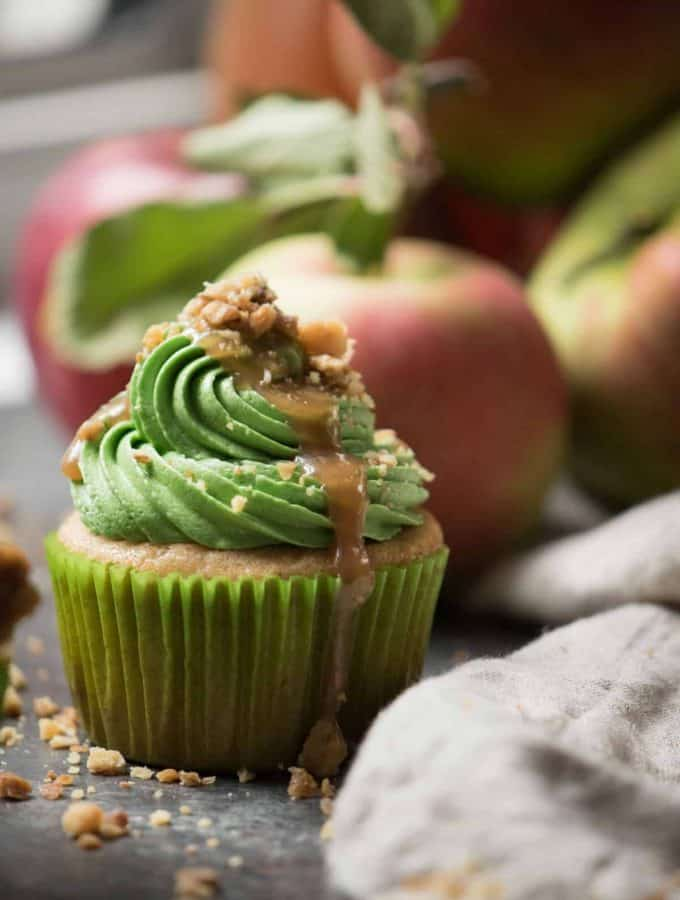 close up side angle of Caramel Apple Cider Cupcakes