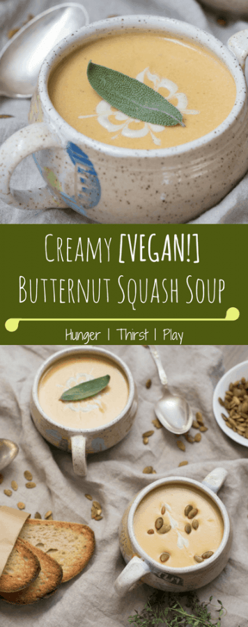 Creamy Vegan Butternut Squash Soup | Rich, plant based goodness popping with fresh fall flavors and eye popping sage cashew creme on top.