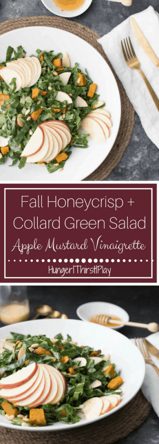 Superfood packed collard greens with roasted squash and sweet, firm honey crispy apples tossed with an apple mustard vinaigrette - perfect for Fall!