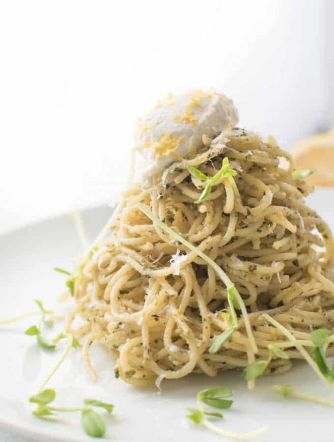 Creamy Lemon Ricotta Pesto Spaghetti