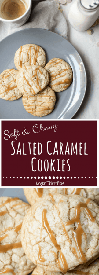 Just a touch of crunch on the edge with a soft and chewy center.  These salted caramel cookies have a touch of caramel in the batter, caramel chips and salted caramel drizzle for ultimate sweet snacking.