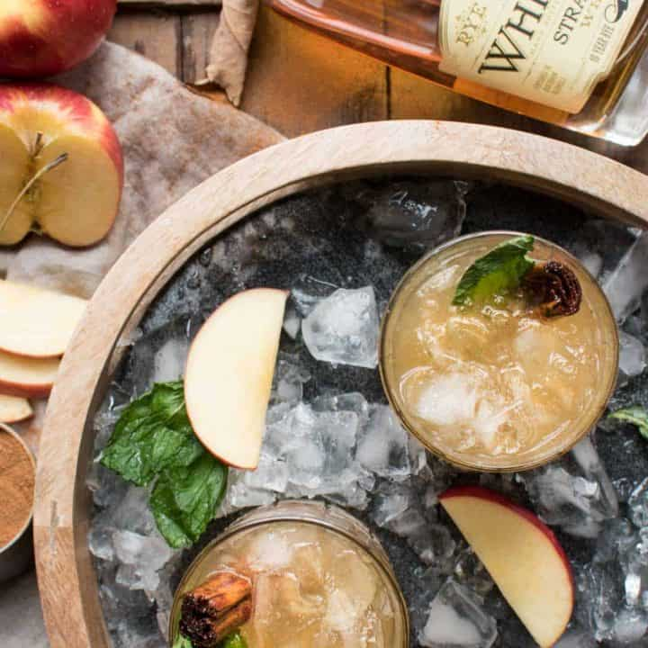 Overhead Shot of Apple Cinnamon Whiskey Smash