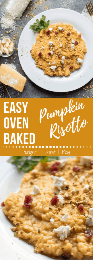 Easy Oven Baked Pumpkin Risotto | A traditional Italian dish made simpler with all the creamy, cheesy goodness infused with fall pumpkin flavor.
