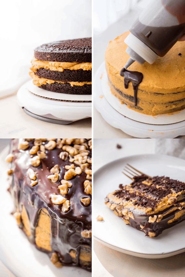 collage of assembling pumpkin buttercream layer cake