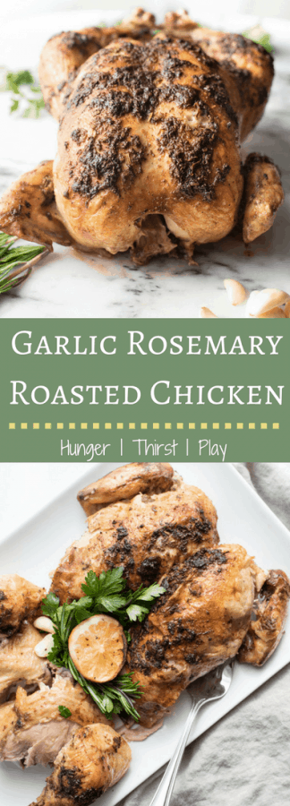 Juiciest Garlic Rosemary Roasted Chicken | Roasting a whole chicken can be easier than you think, with a tender, juicy and flavorful result. Garlic Rosemary Butter is the key to flavor in this whole roasted bird.