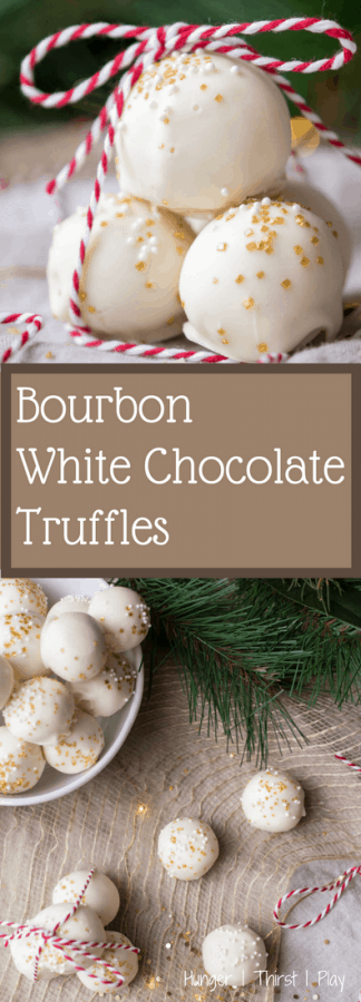 Bourbon White Chocolate Truffles | Creamy, rich bourbon infused center with flavors of white chocolate, smokey vanilla and caramel coated in a crunchy chocolate shell