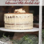 three layer cake in a window