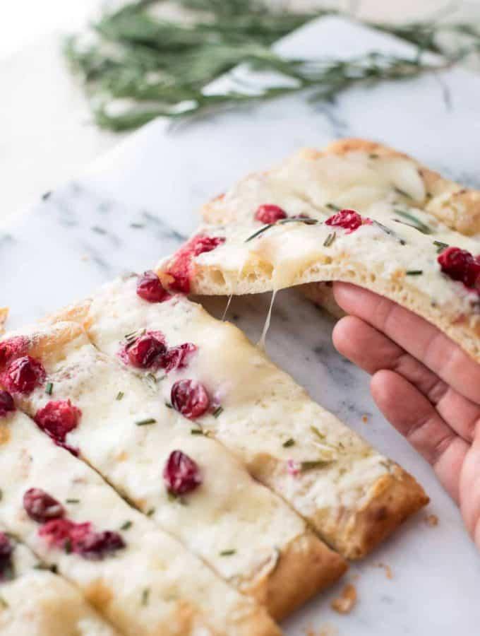 Quick + Creamy Cranberry Brie Flatbread
