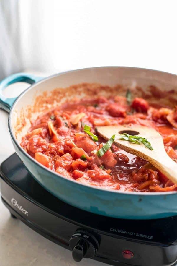 Garlicky Diced Tomato Sauce | Black Bean Spaghetti