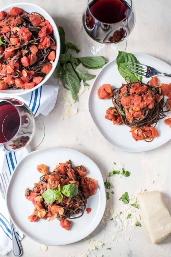 Garlicky Diced Tomato Sauce | Black Bean Pasta
