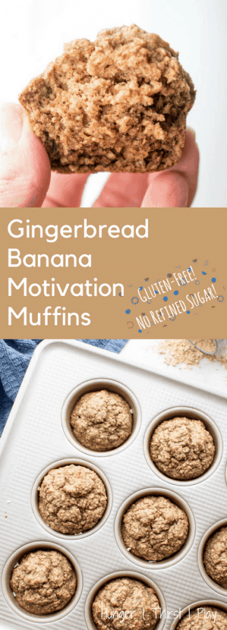 Wholesome, gluten free and without refined sugar. Gingerbread Banana Motivation Muffins easy to make (blender) and the perfect kick start to a busy day!