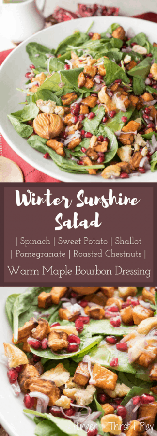 Winter Sunshine Salad with Warm Maple Bourbon Dressing