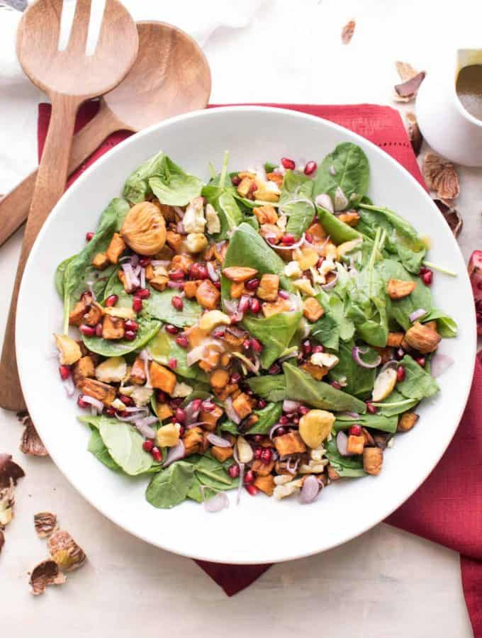 Winter Sunshine Salad | Warm Maple Bourbon Dressing