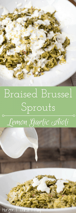 Crisp, tender braised Brussel sprouts with savory flavors drizzle with creamy, bright lemon garlic aioli.