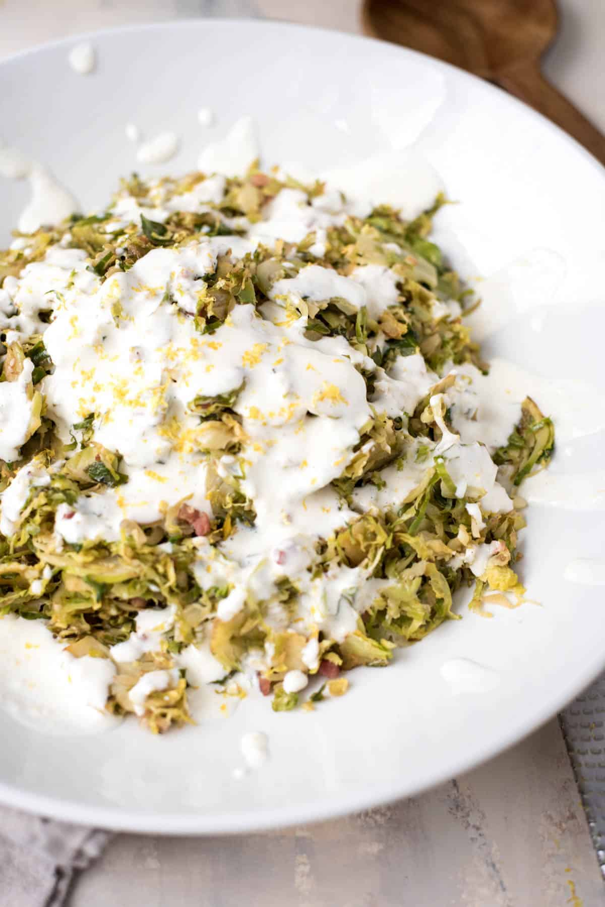 Braised Brussel Sprouts with Lemon Garlic Aioli