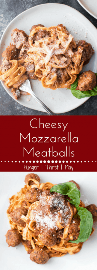 Fork tender cheesy mozzarella meatballs are easy to prepare and gluten free. A gooey twist on a traditional classic that's perfectly paired with fresh pasta or can be served as an appetizer.