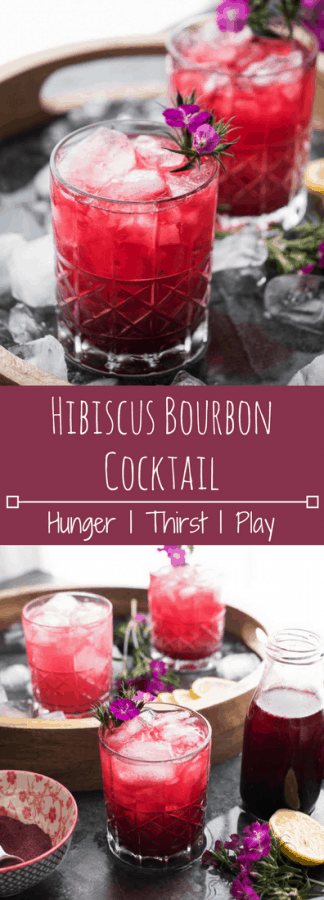 Hibiscus Bourbon Cocktail | Slightly sweet with floral notes and warm vanilla bring bourbon taste together with tropical oasis.
