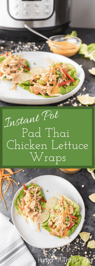 Instant Pot Pad Thai Chicken Lettuce Wraps | A quick and easy recipe for tender, juicy Pad Thai style chicken in a healthy lettuce wrap.