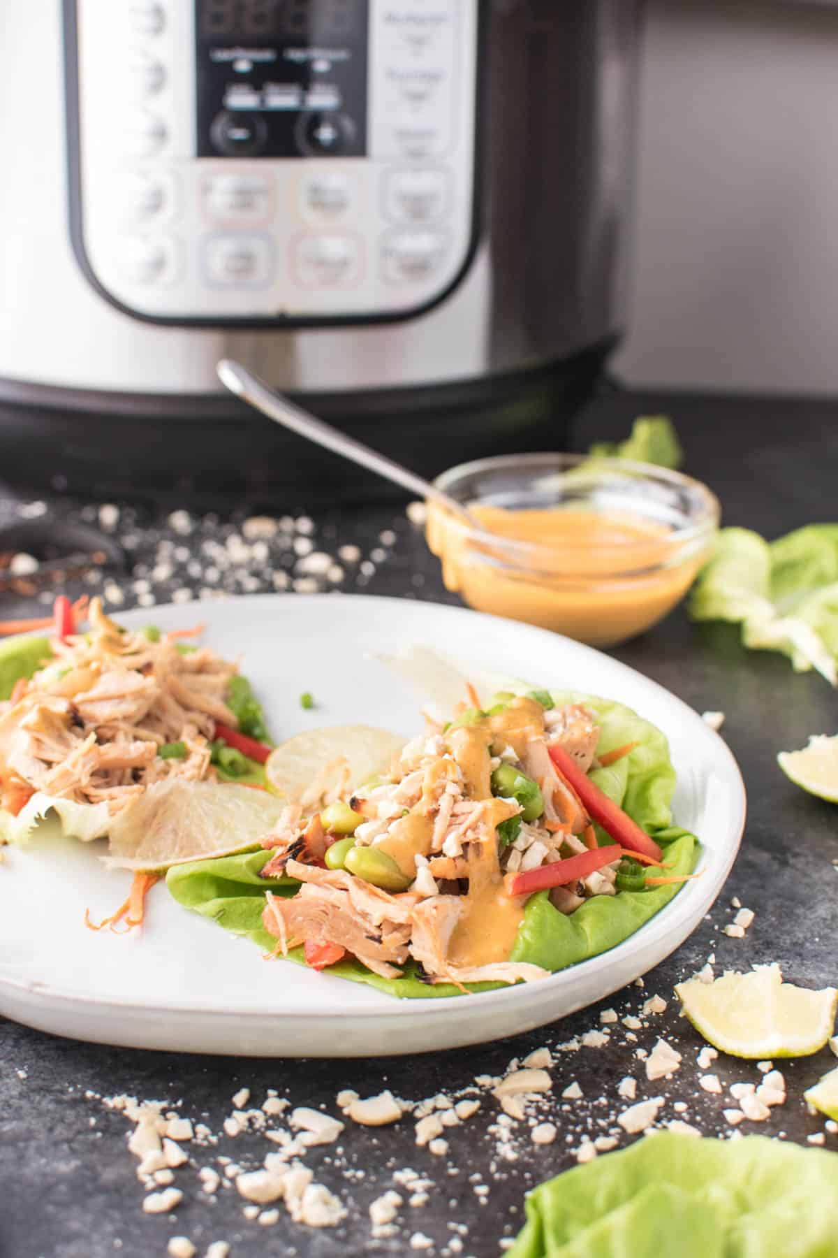 Instant Pot Pad Thai Chicken Lettuce Wraps