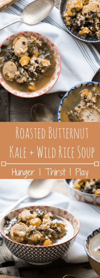 Roasted Butternut, Kale and Wild Rice Soup is warming up your bowl with naturally sweet, caramelized squash flavor paired with savory kale and hearty wild rice. Thinly sliced Italian chicken sausage adds a protein packed option.