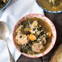 Roasted Butternut Kale and Wild Rice Soup