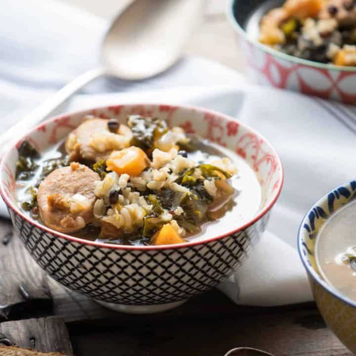 Roasted Butternut Kale and Wild Rice Soup-8