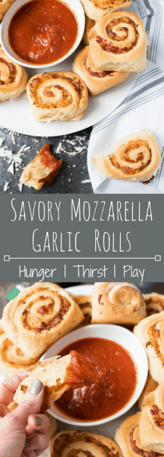 Tender soft bread rolled around cheesy mozzarella, tangy parmesan cheese, garlic, butter, and parsley for the ultimate savory roll.