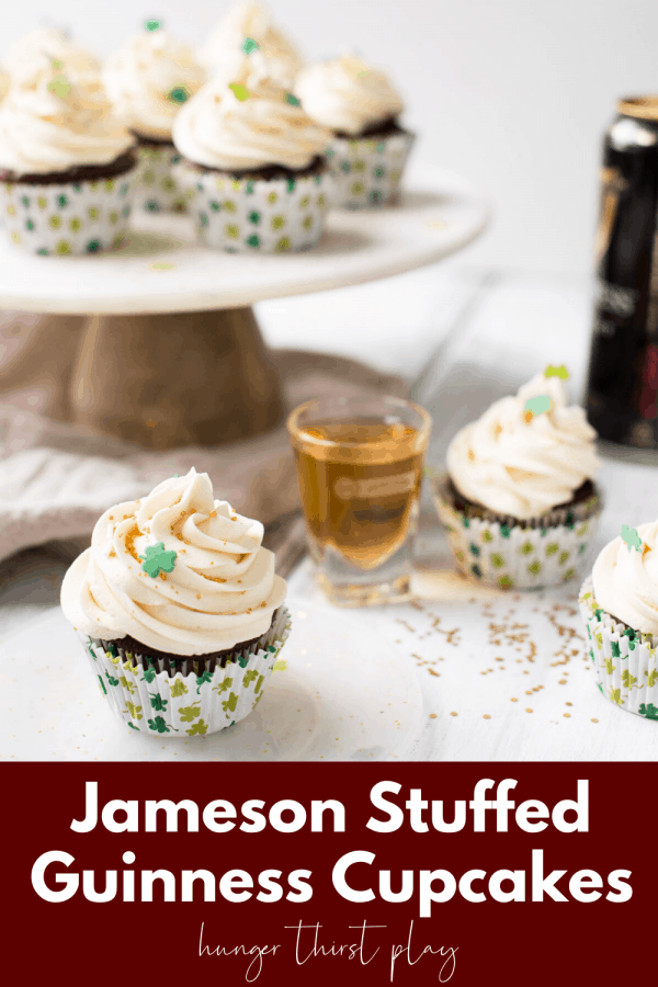 close up of stout cupcake with a shot of jameson