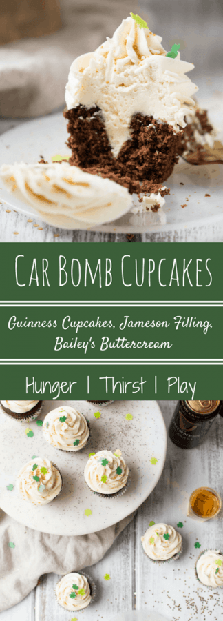 The American St Patty's Day Cocktail turned edible! Carbomb cupcakes feature an Irish stout cupcake with Jameson filling and sweet Bailey's buttercream. No chugging required.