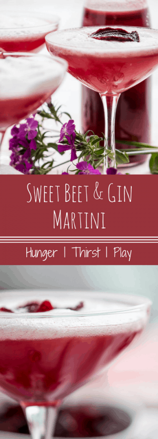 Sweet Beet & Gin Martini | Pleasantly sweet beet flavor is the perfect combo with herbaceous and floral gin in this refreshing cocktail.