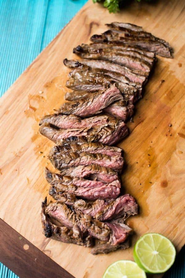 juicy sliced cilantro lime flank steak