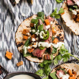 Cilantro Lime Flank Steak Tacos