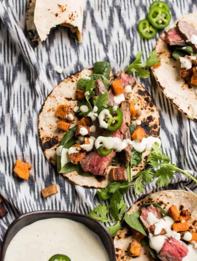 Cilantro Lime Flank Steak Tacos | Jalapeño Crema