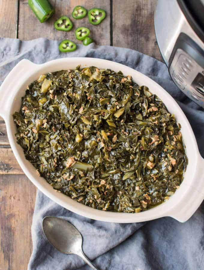 Instant Pot Collard Greens with Jalapeño + Bacon