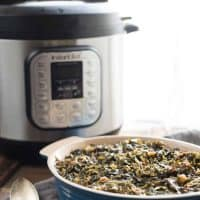 Instant Pot Collard Greens with Jalapeño + Bacon are a simple way to make a classic barbecue side dish! Instead of stirring them on the hot stovetop, let the Instant Pot do all the work, resulting in tender, flavorful, rich collard greens with just a hint of spice.