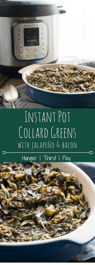 Instant Pot Collard Greens with Jalapeño + Bacon are a simple way to make a classic barbecue side dish! Instead of stirring them on the hot stovetop, let the Instant Pot do all the work, resulting in tender, flavorful, rich collard greens with just a hint of spice. #collardgreens #bbq #instantpot #bacon #summertime #bbqfood