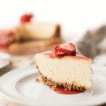 This New York Style Cheesecake is creamy, dense, and just the right amount of sweet with a gluten free and nut free crispy crust!