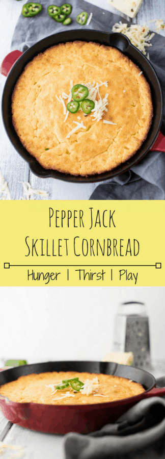 Tender, buttery cornbread with perfectly crispy edges and just the right amount of kick. Dress up your usual cornbread recipe with this easy, no fuss Pepper Jack Skillet Cornbread