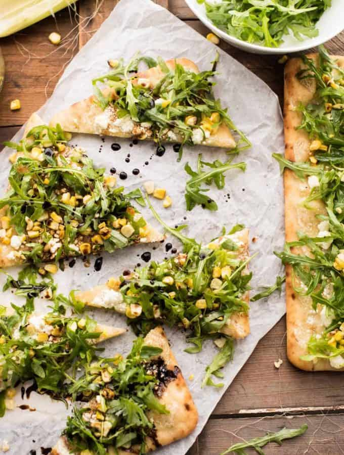 Simple Summer Flatbread with Grilled Corn + Arugula