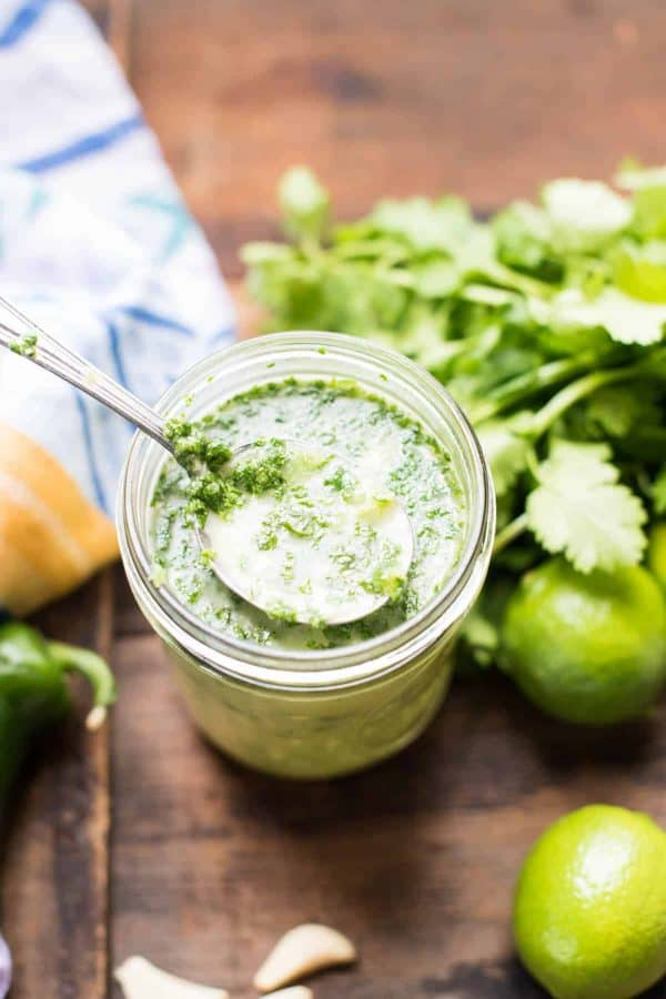 spoonful of cilantro lime marinade