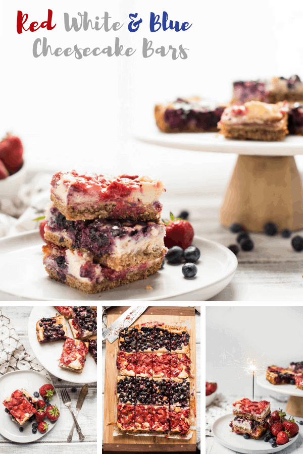 Red White and Blue Cheesecake Bars are a delicious Patriotic sweet treat with fresh summer fruit, creamy filling and crunchy gluten free crust. #cheesecake #cheesecakebars #4thofjuly #bbqdesserts #fruitdesserts #4thofjulydessert