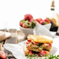 stacked pieces of Strawberry Brie Grilled Cheese