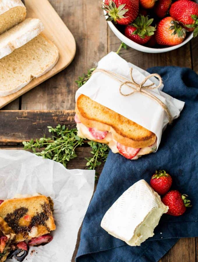 Crisp + Creamy Strawberry Brie Grilled Cheese