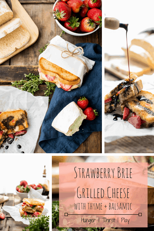 Melty, creamy brie cheese, sweet ripe summer strawberries, and a hint of fresh thyme sandwiched between crisp, buttery bread for the ultimate summer grilled cheese. #grilledcheese #summerfood #strawberries #fruitandcheese #sweetandsavory #easylunch